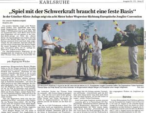 Pressebericht Aufstellung Jonglierwegweiser (BNN)