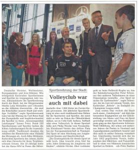 Pressebericht Sportlerehrung 2011 (Stadtzeitung)
