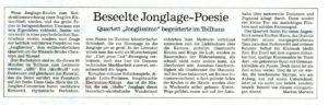 Pressebericht zur Galashow des Jonglierfestivals 2014 (BNN)